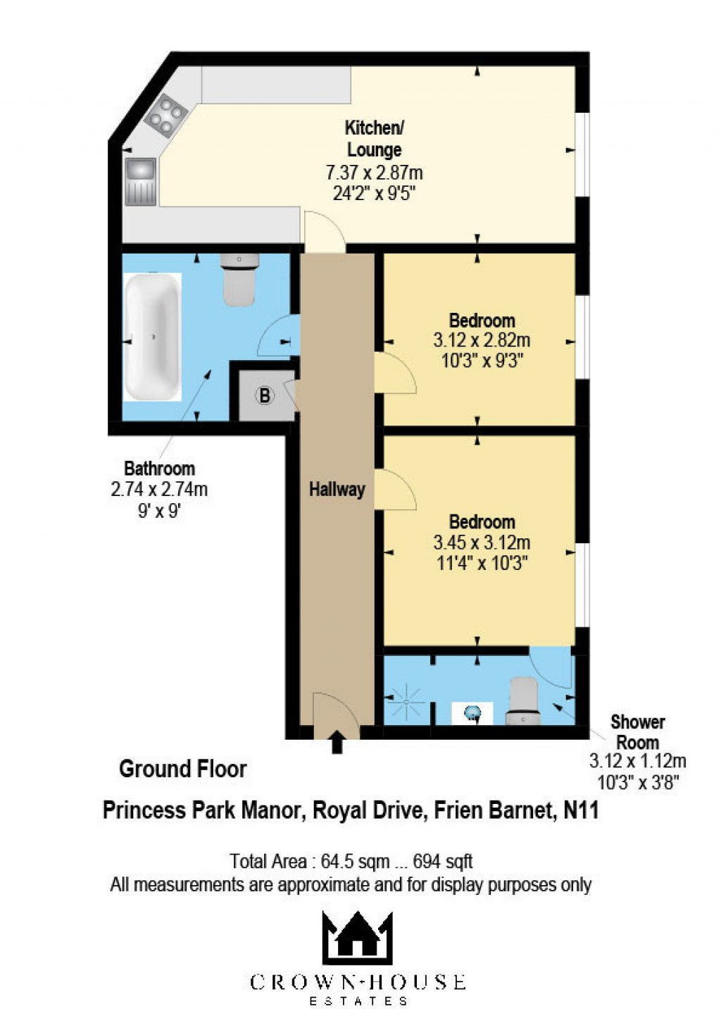 Floorplans For Princess Park Manor East Wing, Royal Drive, London, N11